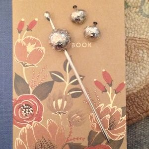 Vintage Japan 950 Silver Hair Stick & Earrings